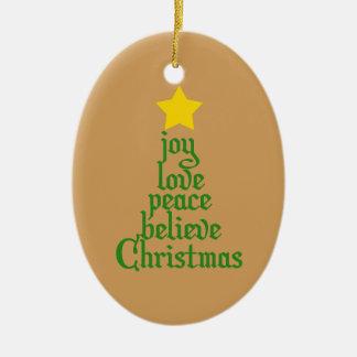 Ornement Ovale En Céramique La joie, amour, paix, croient, Noël