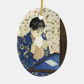 Ornement Ovale En Céramique La lettre par Mary Cassatt, impressionisme vintage
