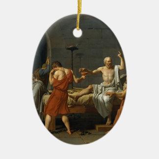 Ornement Ovale En Céramique La mort de Socrates