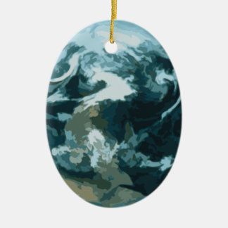 Ornement Ovale En Céramique La terre peinte