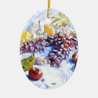 Ornement Ovale En Céramique La vie toujours avec des pommes, poires, raisins -