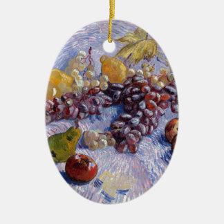 Ornement Ovale En Céramique La vie toujours : Pommes, poires, raisins - Van
