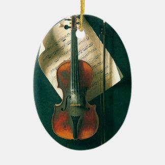 Ornement Ovale En Céramique La vieille de violon toujours vie par Harnett,