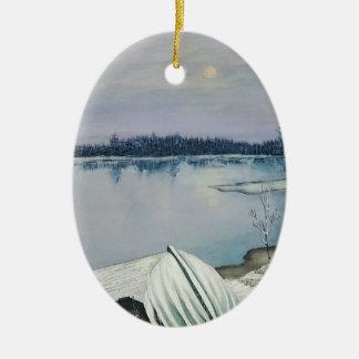 Ornement Ovale En Céramique Lac forest