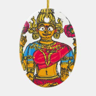 Ornement Ovale En Céramique Lakshmi/Shridebi dans la pose de méditation