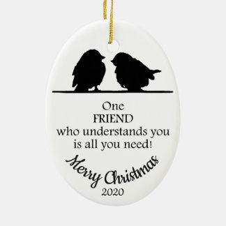 Ornement Ovale En Céramique L'ami de Noël daté par coutume vous comprend