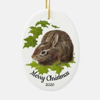 Ornement Ovale En Céramique Lapin daté d'aquarelle de Noël de coutume