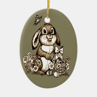 Ornement Ovale En Céramique Lapin de Pâques