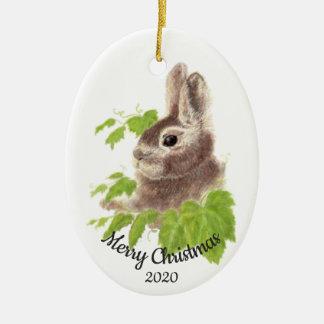 Ornement Ovale En Céramique Lapin fait sur commande d'aquarelle de Noël daté