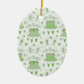 Ornement Ovale En Céramique Lapins heureux en vert