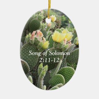 Ornement Ovale En Céramique Le cactus fleurit la chanson de l'ornement de