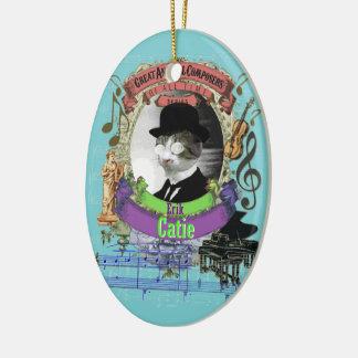 Ornement Ovale En Céramique Le compositeur animal Erik Satie de chat de Catie