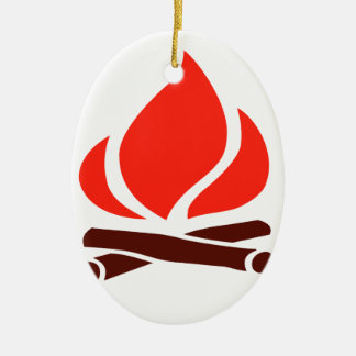 Ornement Ovale En Céramique le feu chaud en cheminée
