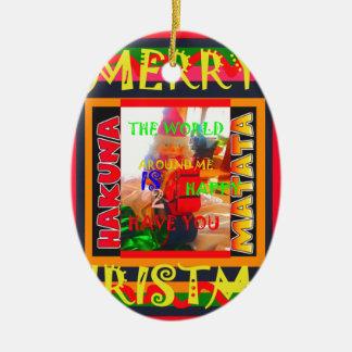 Ornement Ovale En Céramique Le Joyeux Noël le monde autour de moi est heureux