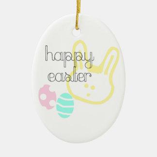 Ornement Ovale En Céramique le pastel heureux de vacances de Pâques eggs le