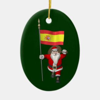 Ornement Ovale En Céramique Le père noël avec le drapeau de l'Espagne