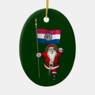 Ornement Ovale En Céramique Le père noël avec le drapeau du Missouri