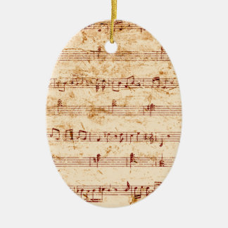 Ornement Ovale En Céramique Le piano grunge note la feuille de musique