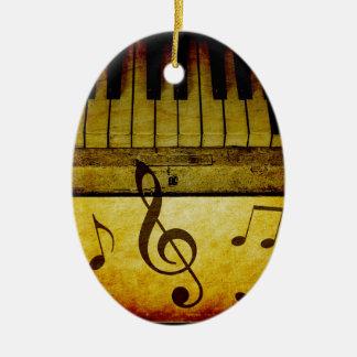 Ornement Ovale En Céramique Le piano verrouille le cru