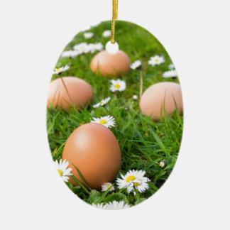 Ornement Ovale En Céramique Le poulet eggs au printemps l'herbe avec des