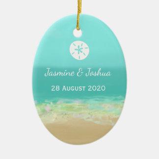 Ornement Ovale En Céramique L'eau bleue d'Aqua/bord de la mer peint de plage