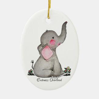 Ornement Ovale En Céramique L'éléphant mignon de bébé d'aquarelle avec