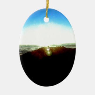 Ornement Ovale En Céramique Lever de soleil nucléaire