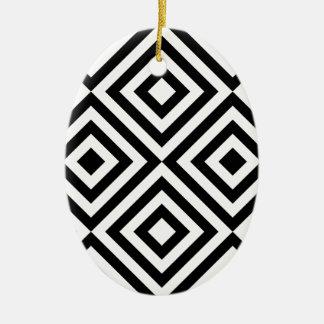 Ornement Ovale En Céramique Ligne géométrique noire et blanche motif