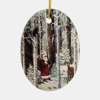 Ornement Ovale En Céramique L'ornement 2 de visiteur de forêt