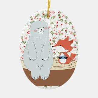Ornement Ovale En Céramique Loup mignon vintage de renard d'été de ressort et