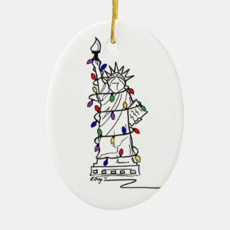 Ornement Ovale En Céramique Lumières de Noël de liberté de statue de New York