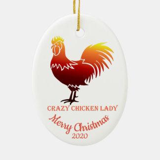 Ornement Ovale En Céramique Madame folle Fun de poulet de Noël daté de coutume