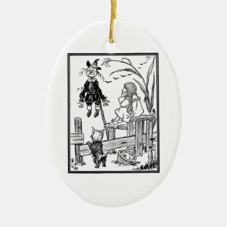 Ornement Ovale En Céramique Magicien d'Oz vintage, épouvantail de