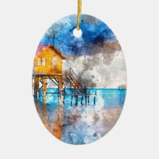 Ornement Ovale En Céramique Maison sur l'océan en ambre gris Caye Belize_