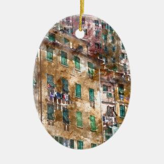 Ornement Ovale En Céramique Maisons colorées dans Cinque Terre Italie