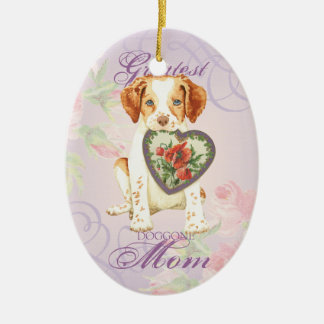 Ornement Ovale En Céramique Maman de coeur de la Bretagne