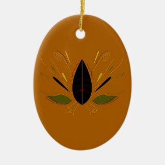 Ornement Ovale En Céramique Mandala sur le brun