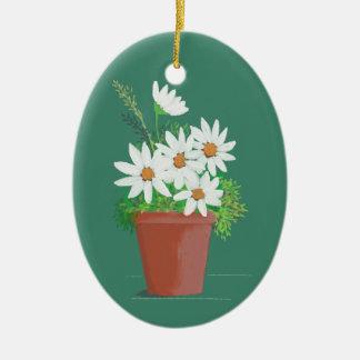 Ornement Ovale En Céramique Marguerites blanches dans la peinture d'aquarelle