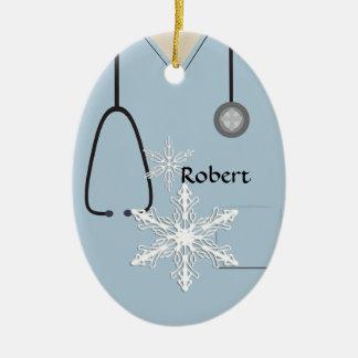 Ornement Ovale En Céramique Médical frotte l'ornement bleu-clair d'ovale de