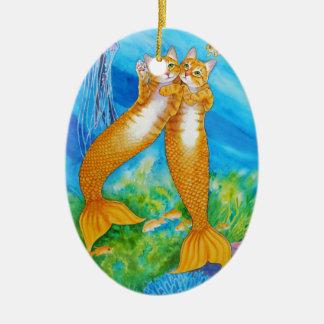 Ornement Ovale En Céramique MerCats tigré