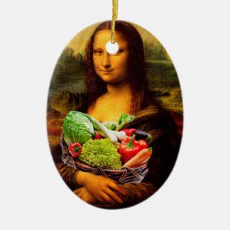Ornement Ovale En Céramique Mona Lisa aime des légumes