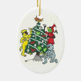 Ornement Ovale En Céramique Monstres décorant l'ornement d'arbre de Noël