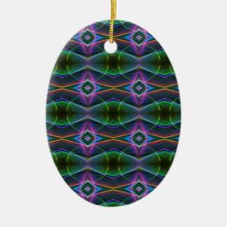 Ornement Ovale En Céramique Motif au néon de vert populaire de lavande