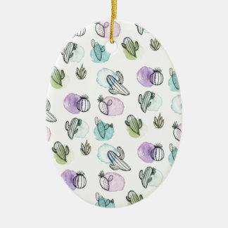 Ornement Ovale En Céramique motif de cactus d'aquarelle