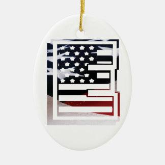 Ornement Ovale En Céramique Motif de drapeau des Etats-Unis d'initiale de