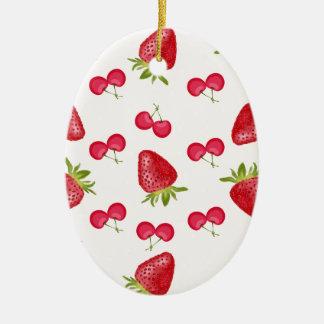 Ornement Ovale En Céramique Motif de fiesta de cerises de fraises