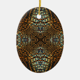 Ornement Ovale En Céramique Motif de fourrure de tigre de kaléidoscope