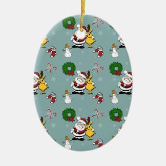 Ornement Ovale En Céramique Motif de Noël