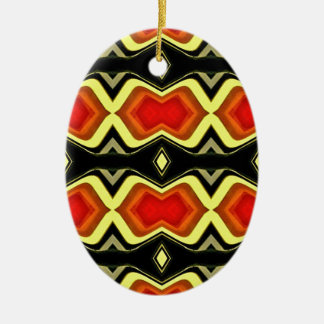 Ornement Ovale En Céramique Motif tribal d'automne de noir de jaune orange