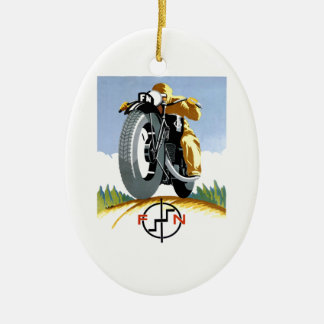 Ornement Ovale En Céramique Motos 1925 F-N annonçant l'affiche